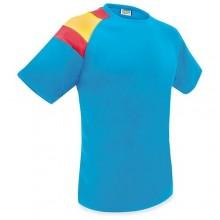 Camiseta técnica azul con bandera España. Modelo 504