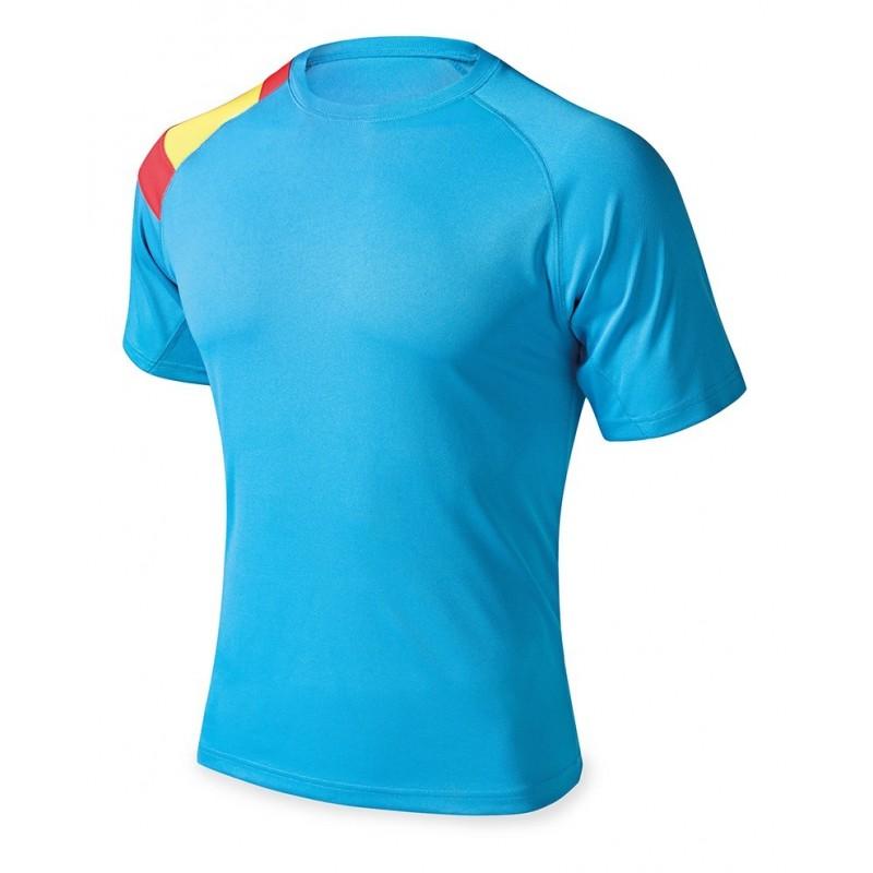 Camiseta técnica azul con bandera España.