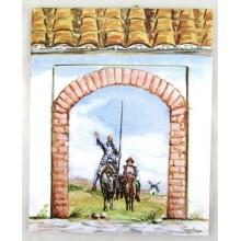 Azulejo decorado Don Quijote y Sancho Panza