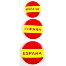 Set 3 chapas bandera España. Modelo 02