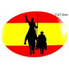 Pegatina bandera España Quijote. Modelo 52