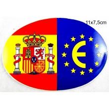 Pegatina bandera España y Europa. Modelo 53