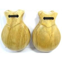 Castañuelas de madera. Natural.