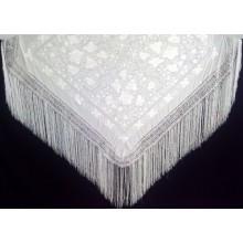 Mantón de seda bordado. Modelo 201 blanco.