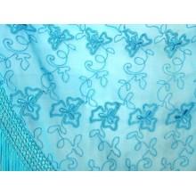 Chal mantón bordado turquesa. Modelo 60