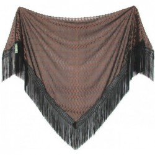 Chal mantón negro-marrón. Modelo 63