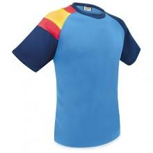 Camiseta técnica azul con bandera España. Modelo 505