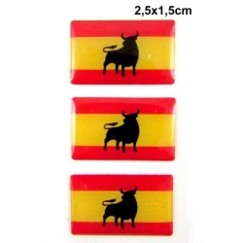 3 Pegatinas bandera España Toro. Modelo 115