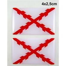 2 Pegatinas Cruz de Borgoña. Modelo 094