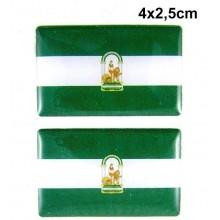 2 Pegatinas bandera Andalucía. Modelo 089
