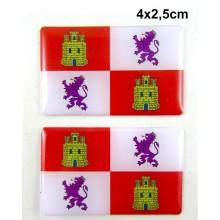 2 Pegatinas bandera Castilla y León. Modelo 095