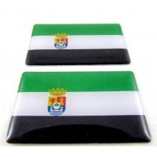 2 Pegatinas bandera Extremadura. Modelo 096
