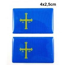 2 Pegatinas bandera Asturias. Modelo 097