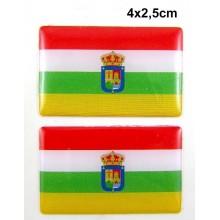 2 Pegatinas bandera La Rioja. Modelo 123