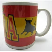 Taza bandera España con toro. Modelo 10