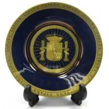 Plato azul. Escudo España.