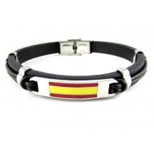 Pulsera cuero bandera España. Modelo 240