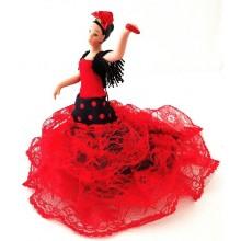 Muñeca flamenca con vestido de tela