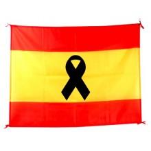 Bandera España Luto crespón negro. 100x70cm