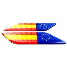 2 Pegatinas relieve bandera España y Europa. Modelo 135