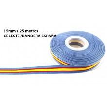 Cinta Bandera España celeste. Rollo 25m