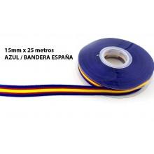 Cinta Bandera España azul. Rollo 25m