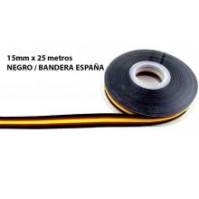 Cinta Bandera España negro. Rollo 25m