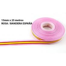 Cinta Bandera España rosa. Rollo 25m