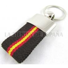 Llavero lona marrón bandera España. Modelo 325