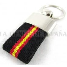 Llavero lona negro bandera España. Modelo 378
