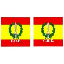 2 pegatinas bandera España C.O.E.