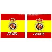 2 pegatinas bandera España Policía Nacional