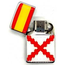 Encendedor gasolina bandera España Cruz Borgoña. Modelo 027