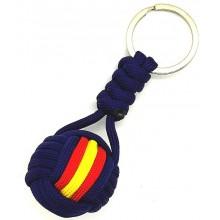 Llavero bola paracord bandera España azul marino. Modelo 575