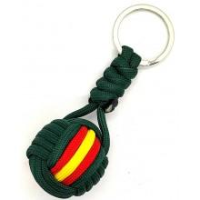 Llavero bola paracord bandera España verde. Modelo 576