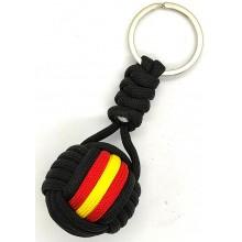Llavero bola paracord bandera España negro. Modelo 604