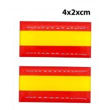 2 pegatinas relieve bandera España 4x2cm. Modelo 159