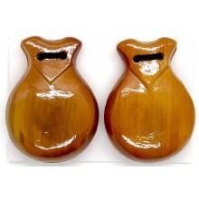 Castañuelas de madera color nogal.