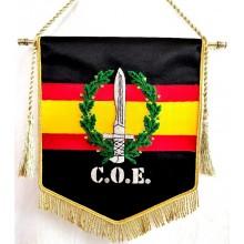 Estandarte C.O.E. bordado a mano lujo tamaño pequeño