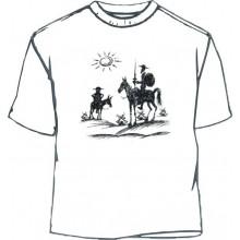 Camiseta Quijote y Sancho dibujo. Blanco.