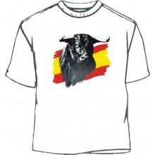 Camiseta Toro sobre bandera. Blanca