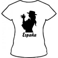 Camiseta mujer palmas España. Blanca