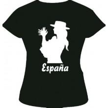 Camiseta mujer palmas España. Negra