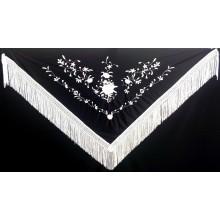 Mantón bordado negro-plata. Modelo 185