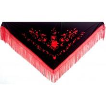 Mantón bordado negro-rojo. Modelo 186
