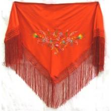 Mantón infantil bordado rojo. Modelo 123