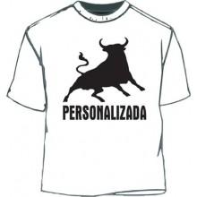 Camiseta Toro personalizada. Blanco-negro.