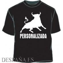 Camiseta Toro personalizada. Negro-blanco