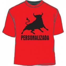 Camiseta Toro personalizada. Rojo-negro