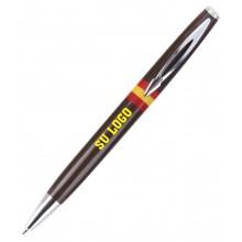 Bolígrafo bandera España marrón personalizado. Modelo 007